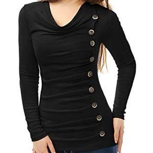 NWOT Black Long Sleeved Drape Necked Top